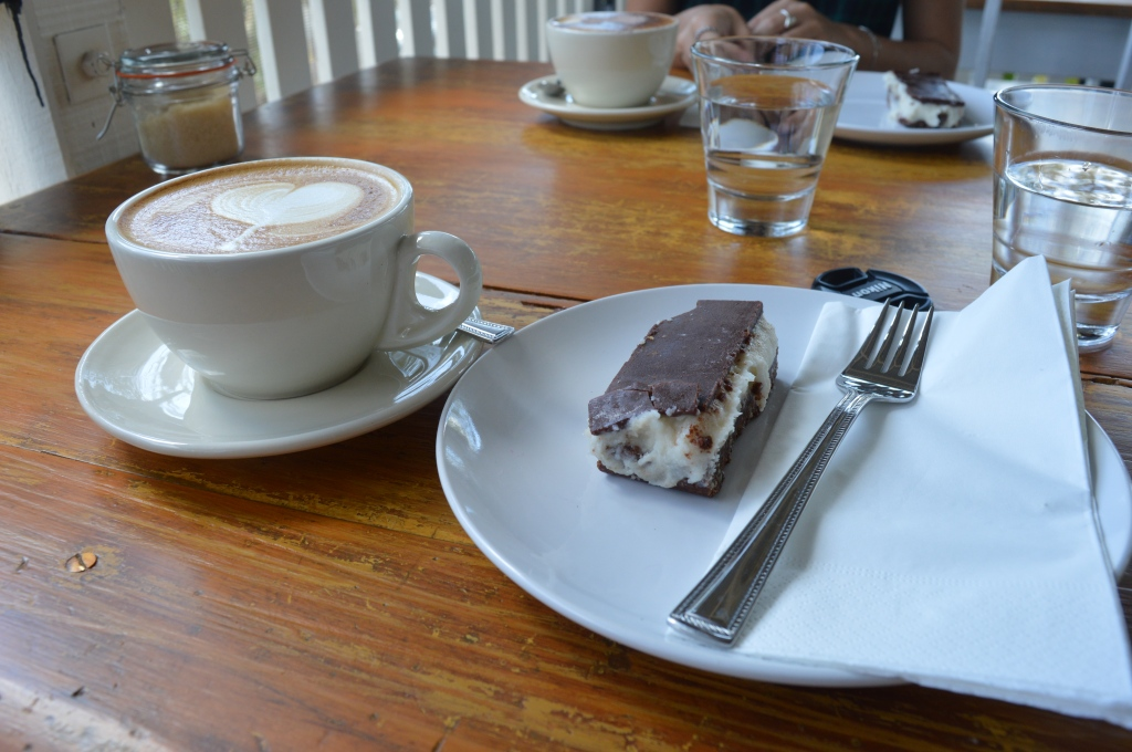 Lovely latte and super-healthy raw peppermint slice