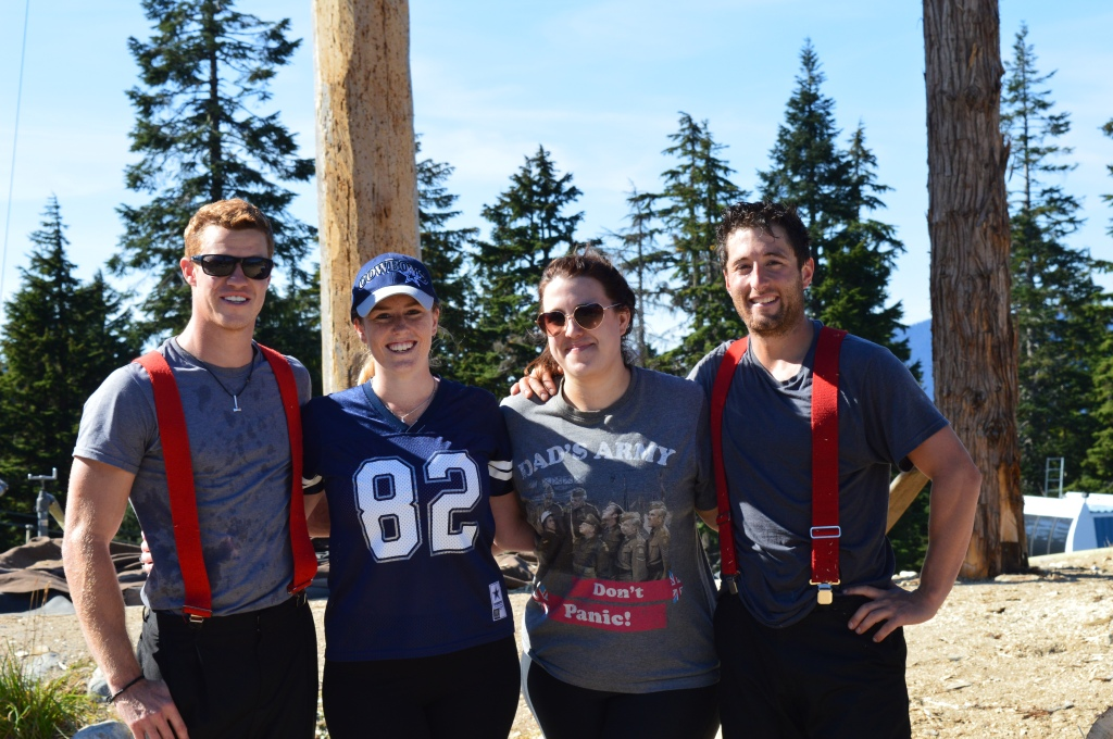 Myself and Helen of Leeds with a couple of smoking hot lumberjacks after doing the Grouse Grind (and surviving, somehow)