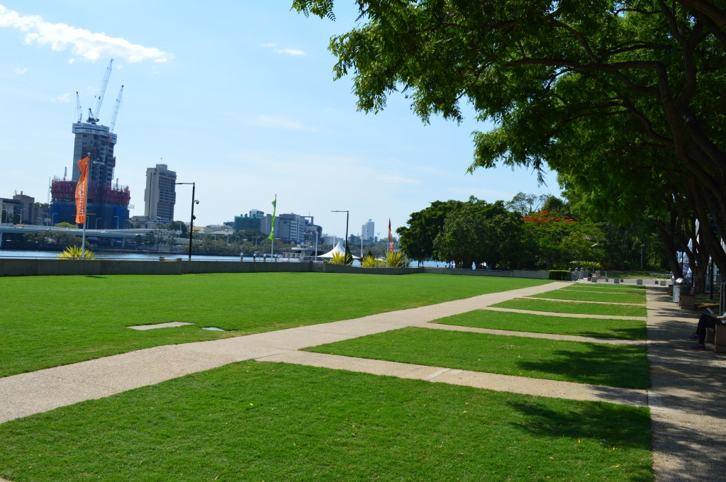 The lawns of Southbank