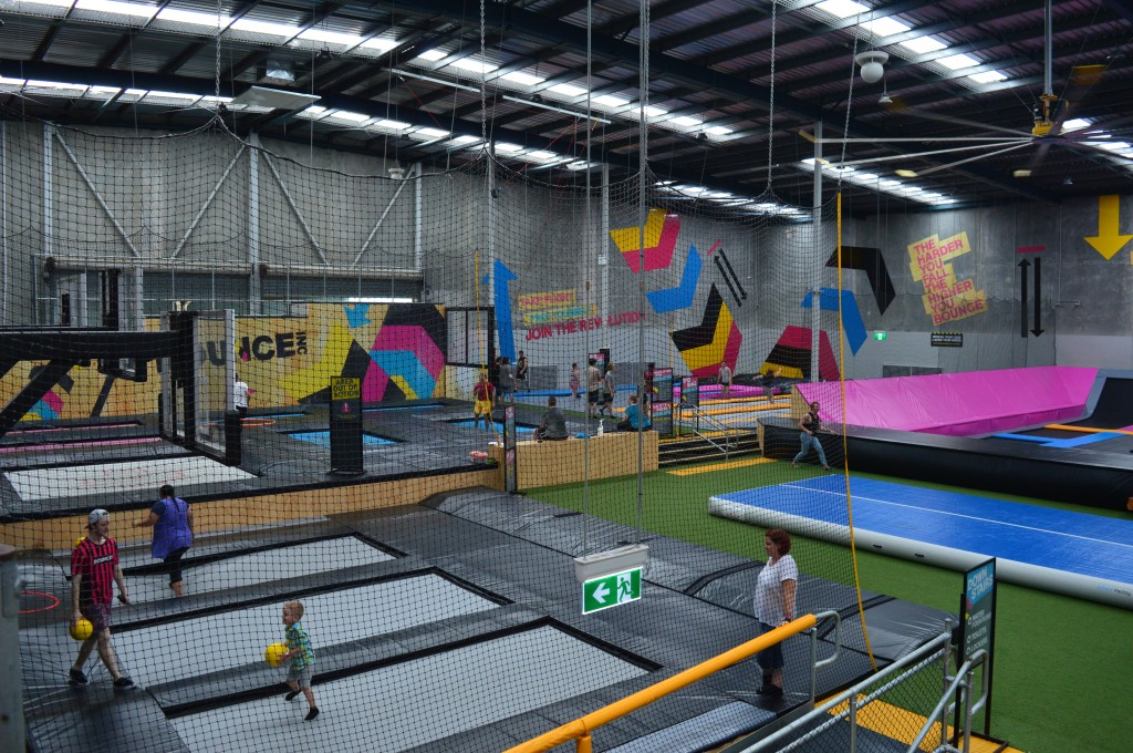 Part of the main floor at Bounce: The hoops and wall tramps
